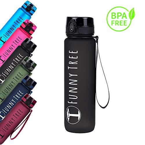Funny Tree® Trinkflasche aus Tritan. 1000ml Obsidian Black. BPA frei und auslaufsicher! Ideal beim Sport, beim Fitness und Wellness, oder auf All deinen Outdoor Aktivitäten sowie auf Reisen. (Sporttasche Trinkflasche)