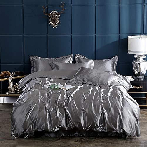 UOUL Bettwäsche Set Ice Silk Bettwäsche 4 Stück Silber Schwarz Einfarbig Verblasst Nicht Komfort Männer Und Frauen Schlafzimmer Weich Und Rutschig XL Voll,Silver,Twin -