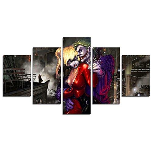 as, 5-Teilig Dark Knight Joker und Harley Quinn Film Leinwand Art Wand Gemälde für Home Wohnzimmer Büro Trendig eingerichtet Dekoration Geschenk (ungerahmt)... ()