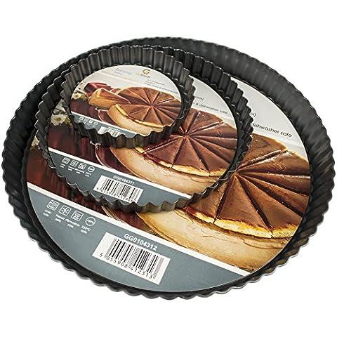 Get Goods ronds Moules à tarte–13cm/20cm/28cm de diamètre–en acier carbone antiadhésif–cannelée Edge/Base amovible 3 Piece Set