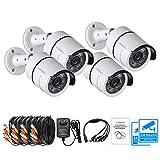Lonnky 1080P Überwachungskamera Set 3.6mm 80ft IR Nachtsicht 4-Pack 1080P Full HD CCTV Außenkamera Set, 4 Stücke Dome Kamera Weiß (einschließlich Netzteil, Splitter und Stromkabel)