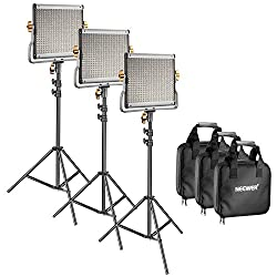 Neewer 3 Packs Dimmable Bi-color 480 LED Video Light and Stand Lighting Kit - LED Panel (3200-5600K CRI 96+) with U Bracket, 75 inches Light Stand for YouTube Studio Photography, Video Shooting