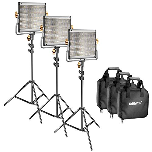 Neewer 3 Packs Regulable Bi-Color 480 LED Luz y Kit de Iluminación Panel de LED (3200-5600K CRI 96 +) con Soporte U, Soporte de Luz de 79 Pulgadas para Fotografía de Estudio