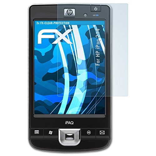 atFoliX Schutzfolie kompatibel mit HP iPaq 214 Folie, ultraklare FX Displayschutzfolie (3X) -