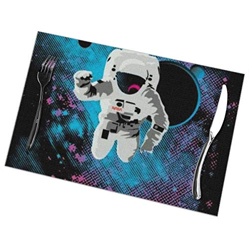 Aeykis Tischsets,Astronaut in Space Universe Heat-Resistant Washable Cotton Tischsets,Polyester Linen Dining Table Mats for Kitchen,Set of 6 49ers-pet-set