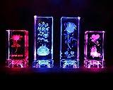 La flor se levantó Feng Shui 3D de cristal regalos de cumpleaños giratorio del aniversario colores de luz LED W1749