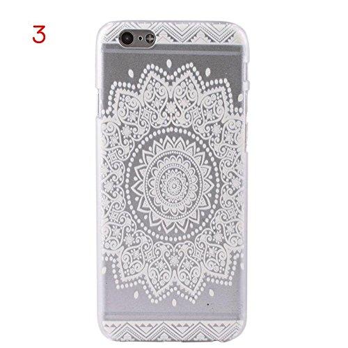 zhuotop populaire Transparent iPhone 6/6S 11,9cm Mandala Coque arrière Motif fleur Style 3