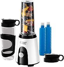 Russell Hobbs 25161-56 Smoothie Maker Mix & Go Boost Horizon, inkl. 2 Tritan-Behälter mit Deckel und Külakkus, 23000 U/min, 400 W, weiss/schwarz