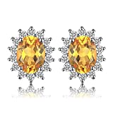 JewelryPalace Kate Prinzessin Diana 1.1ct Natürliche Citrin Halo Ohrstecker 925 Sterling Silber