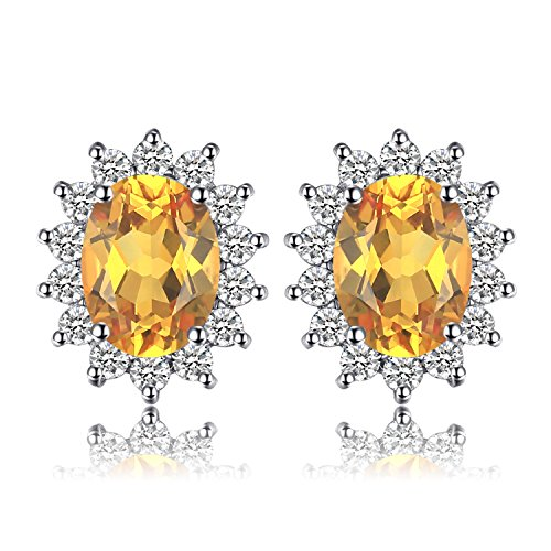 JewelryPalace Kate Principessa Diana 1.1ct Naturale Citrino Halo Stud Orecchini 925 Sterling Argento