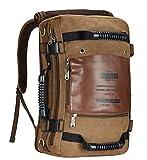KAUKKO Vintage Toile sac à dos hommes et femmes Casual d'escalade voyage plein air Alpinisme Sac à dos avec une grande capacité(22 Liters)Kaki