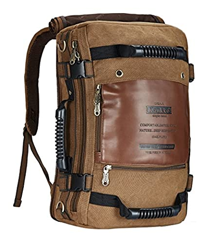 Canvas Vintage Rucksäcke, KAUKKO Damen Herren Schulrucksack Retro Stylisch Backpack für Outdoor Reisen Wandern mit Großer Kapazität (Khaki)