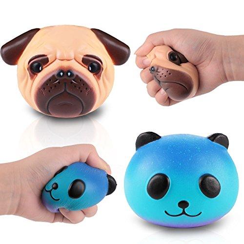 Matschig Jumbo, Dekompression Spielzeug, Kawaii Matschig Langsam Steigend, zum Kinder Erwachsene Hand Handgelenk Spielzeuge durch Proacc (Mops-Hund + Sternenpanda) Panda Versorgt