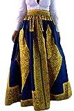 SheShy Mujer Impresión Africana Floral Casual Una Línea Falda Maxi Multisize (XL, Amarillo Azul-7)