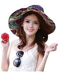 Moda Vintage colorido sol flor tótem patrón ala ancha disquetera pajita Weave gorro de espumadera verano sol sombrero playa Cap Big junto sombrero para las mujeres niñas damas