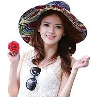 QianSheng Moda Vintage Colorido Sol Flor tótem patrón ala Ancha Disquetera Pajita Weave Gorro de Espumadera Verano Sol Sombrero Playa Cap Big Junto Sombrero para Las Mujeres niñas Damas