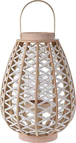Fair-Shopping Laterne Kerzen-Halter Kerzen-Leuchter Hänge-Leuchte Holz-Leuchte Ø 30-45 cm Variation (0620 - Ø 30 cm) (Holz-laterne-kerze-halter)