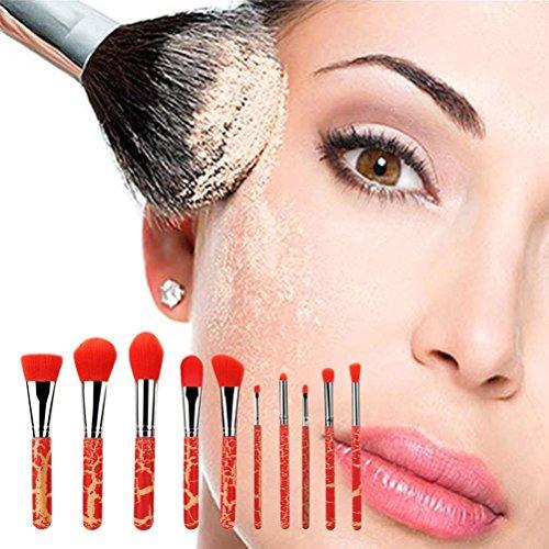 ESAILQ Kit De Pinceau Maquillage Professionnel 10 pcs / set Manche en Bois Craquelé Ombre à Paupière Brosse Cosmétiques Blending outil Pinceau (Rouge)