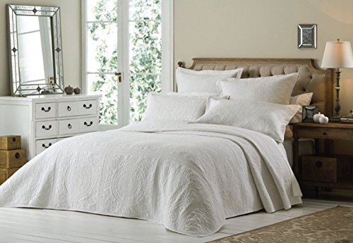 Versailles Bedspread and 2 Pillowshams Luxury Bedding Throw-Over Set, White, King