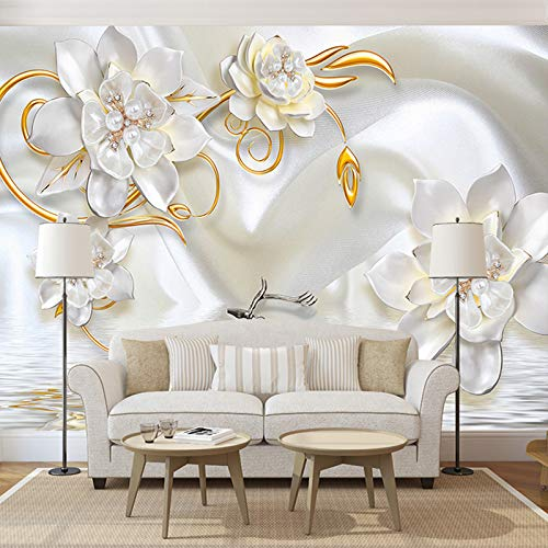 Benutzerdefinierte 3D Wandbilder Tapete Luxus 3D Relief Deer Weißer Seide Perle Schmuck Blume Große Wandmalerei Wohnzimmer Schlafzimmer Fototapete 3d effekt - 1㎡(1 Quadratmeter)