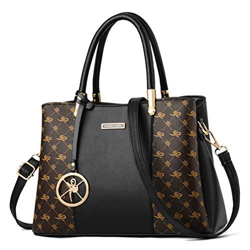 Maysurban Damen Henkeltasche Modern Handtasche PU Leder Druckdessinierte Tote Shopper Schultertasche mit Schultergurt für Frauen Schwarz mit Gold -