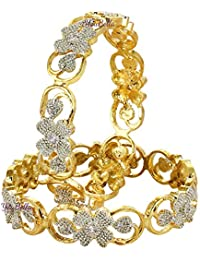 YouBella Fashion Jewellery Traditional Gold Plated Floral Shape American Diamond Bracelet Bangles for Girls and Women