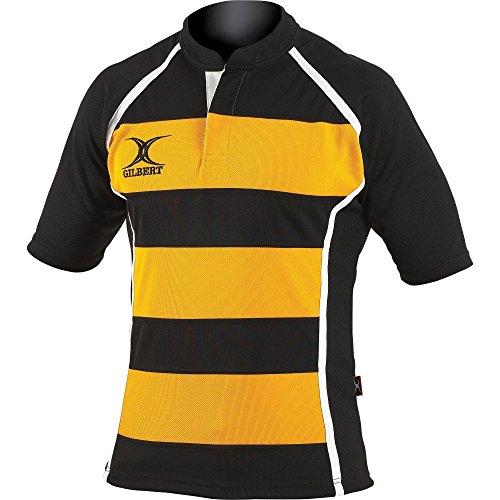 Gilbert Rugby Herren Xact Kurzarm Rugby Shirt (M) (Schwarz/Gelb Streifen)