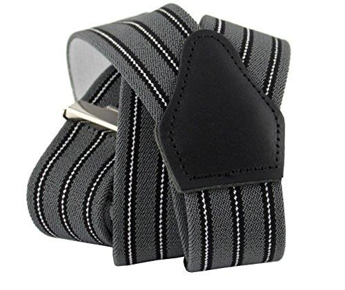 Herren Hosenträger Grau Gestreift mit Starken Clips Y-Form | Sencillo Retro Outfit | Schwarz Gestreifter Hosenträger (Schwarz Gestreifter Anzug)