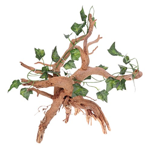 Perfeclan Ivy Vine Leaves Artificial Plant on Wood Root Fish Tank Vivarium...