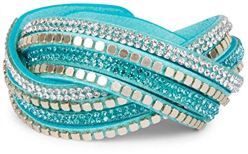 styleBREAKER weiches Wickelarmband mit Strass und glänzenden Nieten, Armband, 4x1-Reihig, Damen Schmuck 05040022, Farbe:Türkis