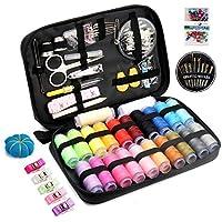 Qisiewell Kit de Costura con 238 Piezas Premium Accesorios Portátil Costurero de Viaje 22 Colored Carretes de Hilo para Adultos Niños Amante del Bricolaje