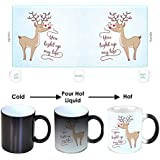 YaYa Cafe Birthday Gifts For Girlfriend, Cute You Light Up My Life Magic Mugs For Girlfriend Set Of 2 With Coaster, Black