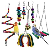 STAJOY Bird Toys,7 Packs Parakeet Bird Cage Toys Swing Chewing Hanging Parrot Perches with Bell,Wooden Ladder Hammock for Conures,Cockatiels,Budgie and Lovely Birds