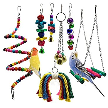 STAJOY Bird Toys,Parakeet Bird Cage Toys, Swing Chewing Hanging Parrot Perches with Bell, Parrot Mirror,Wooden Ladder Hammock for Conures,Cockatiels,Budgie and Lovely Birds