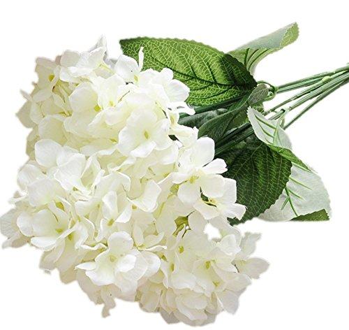 Pflanzen Unechte Blumen der Simulation Künstliche Hortensie Blume Blumenstrauß aus Blumen mit 1 Stielen und 6 Blumen Kugeln Blume Zubehör Bouquet Home Decor (Weiß-42cm) (Spiegel Für Mittelstücke)