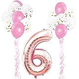KUNGYO Decoraciones de Fiesta de Cumpleaños para Adultos y Niños, Oro Rosa Gigante Número 6 y Estrella de Helio Globos, Cintas, Globos de Confeti de Látex- Rose Gold Suministros de Fiesta