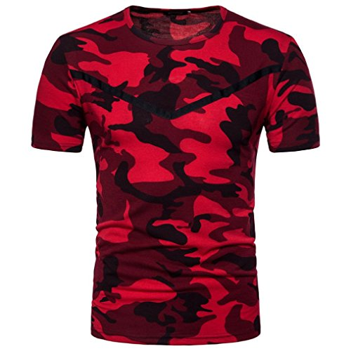 Preisvergleich Produktbild Herren Casual Camouflage Bluse , VENMO Drucken O Neck Pullover Kurzes T-Shirt Top Herren Sommer Hoodie Bluse Mode Kapuzen Herren Kurzarm Sports T-Shirt Slim Fit Hemd Oberteile Tank Tops (Red,  XL(Asian XL=EU L))