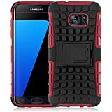 Coque Galaxy S7 Edge Coque incassable | JammyLizard | [ ALLIGATOR ] Coque rigide back cover incassable anti choc coque pour Samsung Galaxy S7 Edge, rouge