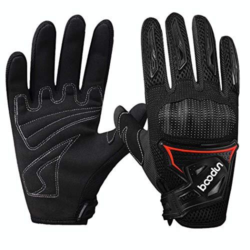 MISS&YG Rutschfeste Motorenhandschuhe, die PVC-Schale Antifall-Outdoor-Handschuhe stoßdämpfen,Black,L