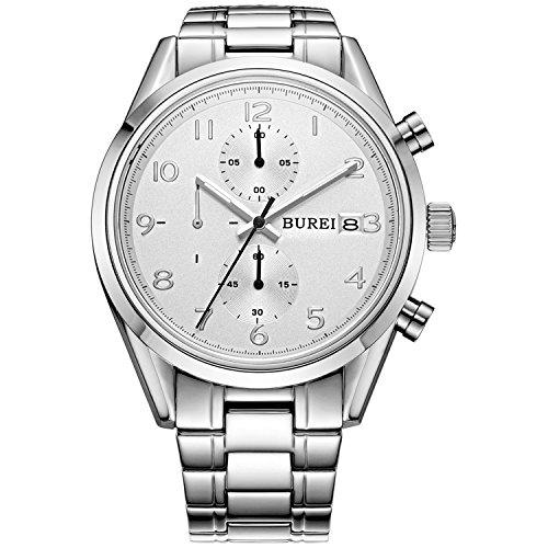 Burei Montre chronographe pour hommes en acier inoxydable saphir, grand cadran avec date et calendrier, chasse-goupilles, cadeau pour hommes (Silver-white dial)
