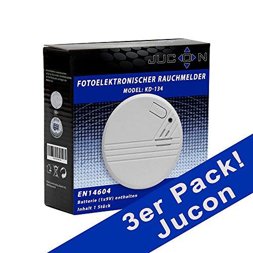 Jucon KD-134A 3 3er-Set Rauchmelder, Feuermelder, geprüft nach EN 14604