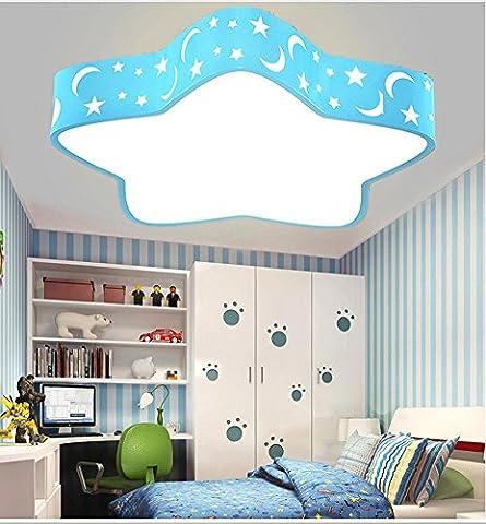 Lampes de plafond Mode créative Salle de garçons et de filles Lumières de dessin animé couleur étoiles de mer Protection des yeux Led , blue , 60cm