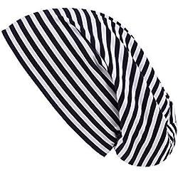 shenky - Gorro caído - Ideal para la pérdida de Cabello y Durante un Tratamiento - A Rayas en Blanco y Negro