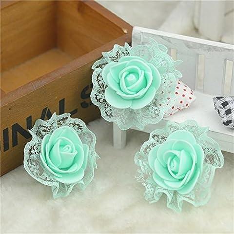 30Pcs Mini mousse en PE avec Rose Fleurs artificielles pour la décoration de voiture de mariage Diy Guirlande Fleurs Pompon décoratif faux,vert