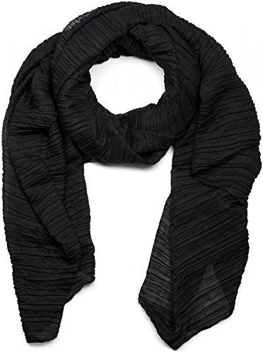 styleBREAKER gekreppter unifarbener Schal, Crash and Crinkle, Tuch, Damen 01016107, Farbe:Schwarz