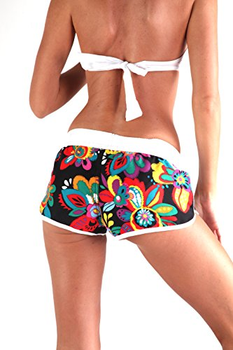 ingear Ladies Beach Shorts Rainbow Flower