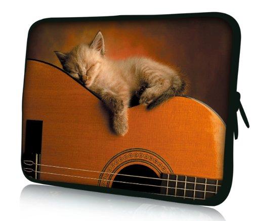 Luxburg® Design Tasche Hülle Sleeve Schutzhülle für Tablet PC 8 Zoll: Apple iPad mini (auch Retina) | Samsung Galaxy Tab 3 (8 Zoll) / Note 8.0 | Intenso TAB814 (8 Zoll) | Asus MeMO Pad 8 | Odys Titan (8 Zoll) | Lenovo IdeaPad Yoga (8 Zoll) | Acer Iconia W3 (8 Zoll) , Motiv: Katze auf Gitarre