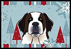Carolines Treasures Winter Holiday Saint Bernard Indoor or Outdoor Mat, 18 by 27, Multicolor