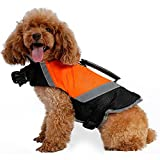 Pawaca Hunde Schwimmweste Doggy Aqua-Top Wassersport Schwimmhilfe Rettungsweste Schwimmtraining für Hunde Haustier Mit Griff und Reflektoren Orange