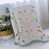 YL Dream Blanket, 100% Baumwolle Musselin aus Bambus, 4 Lagen Leicht und Atmungsaktiv - Swaddle Blankets Muslin - Bamboo Cotton Baby Swaddle Wrap, Burping Cloth & Stroller Cover,Dolphin